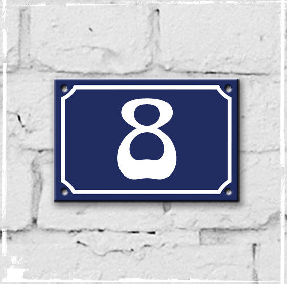 Blue - french enamel house number - 8, Art Nouveau typeface