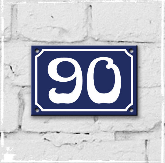 Blue - french enamel house number - 90