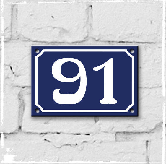 Blue - french enamel house number - 91