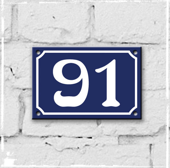 Blue - french enamel house number - 91, Art Nouveau typeface