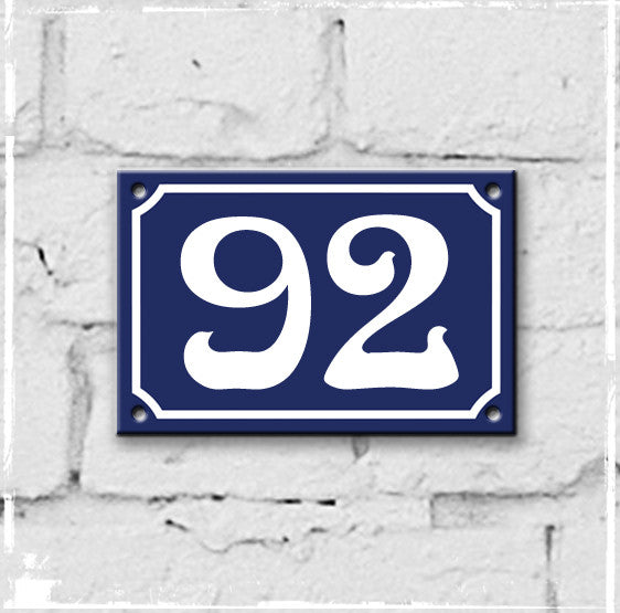 Blue - french enamel house number - 92