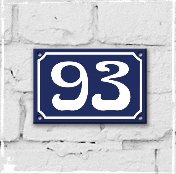 Blue - french enamel house number - 93, Art Nouveau typeface