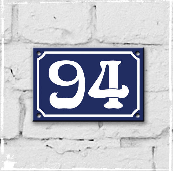 Blue - french enamel house number - 94