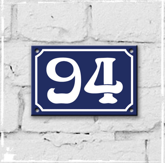 Blue - french enamel house number - 94, Art Nouveau typeface