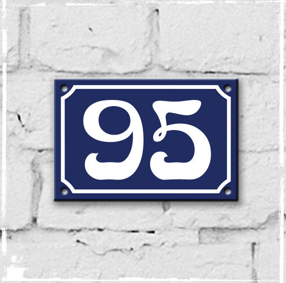 Blue - french enamel house number - 95, Art Nouveau typeface