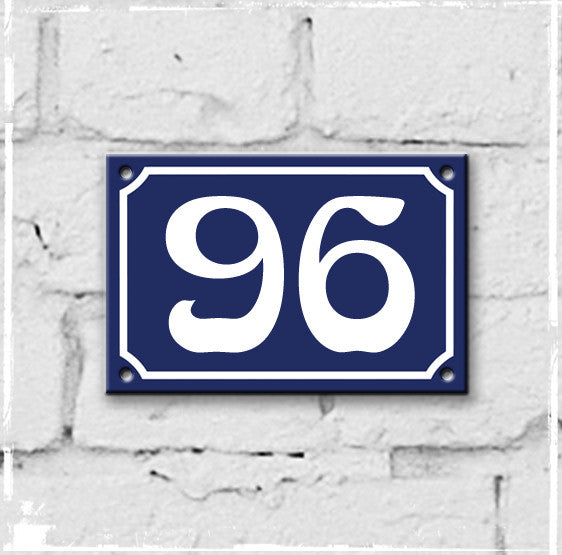 Blue - french enamel house number - 96, Art Nouveau typeface