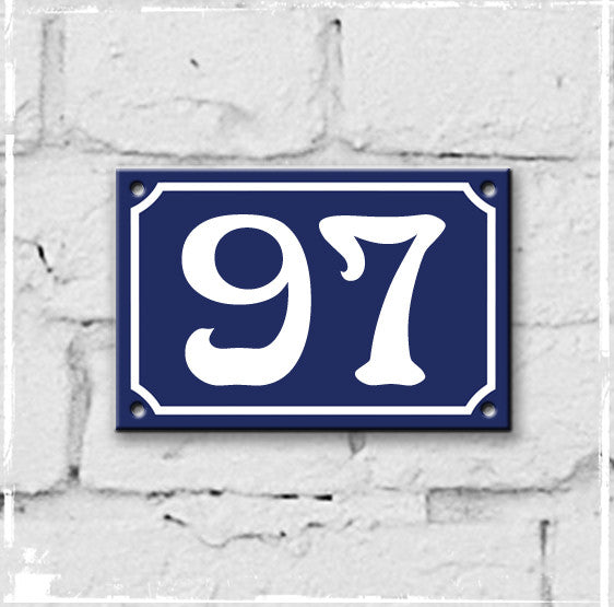 Blue - french enamel house number - 97, Art Nouveau typeface