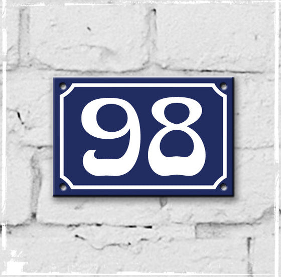 Blue - french enamel house number - 98, Art Nouveau typeface