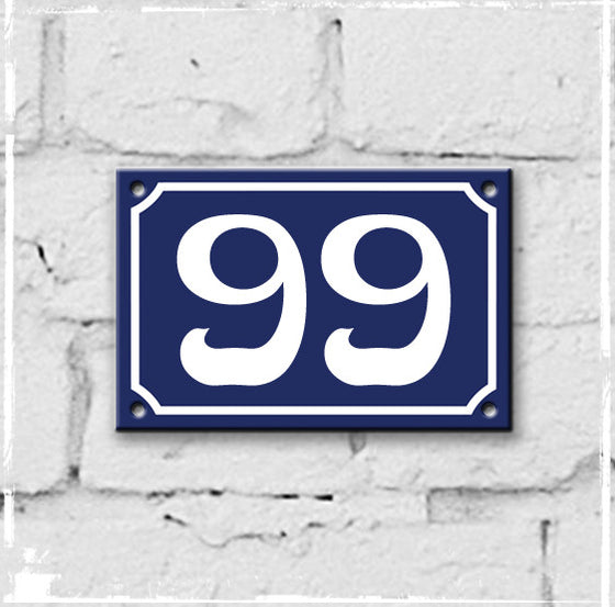 Blue - french enamel house number - 99