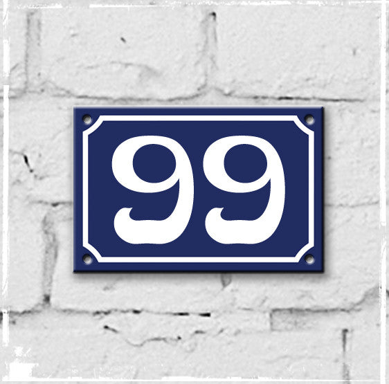 Blue - french enamel house number - 99, Art Nouveau typeface