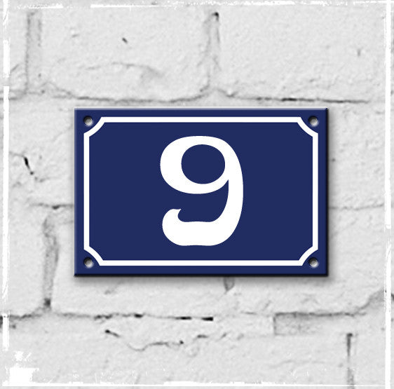Blue - french enamel house number - 9, Art Nouveau typeface