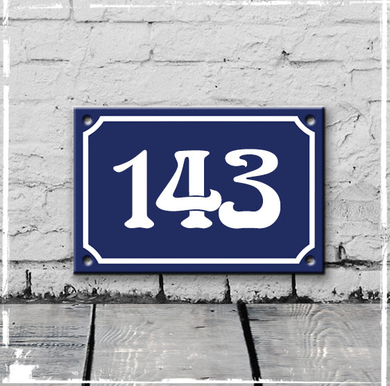 Blue - french enamel house number - 143, Art Nouveau typeface