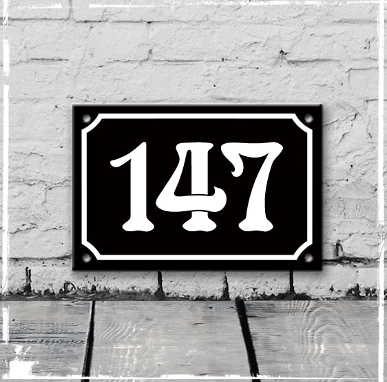 Black - french enamel house number - 147, Art Nouveau typeface