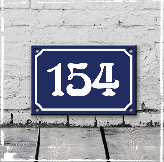 Blue - french enamel house number - 154, Art Nouveau typeface