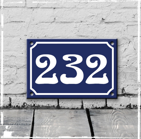 Blue - french enamel house number - 232 Art Nouveau typeface