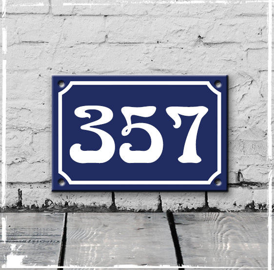 Blue - french enamel house number - 357, Art Nouveau typeface