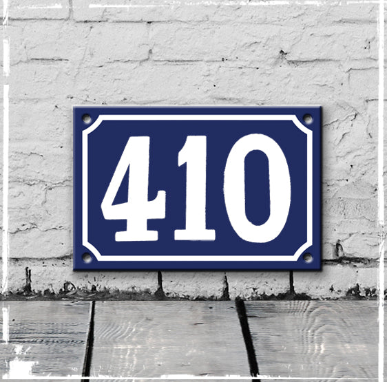 Blue - french enamel house number - 410, Hand drawn typeface