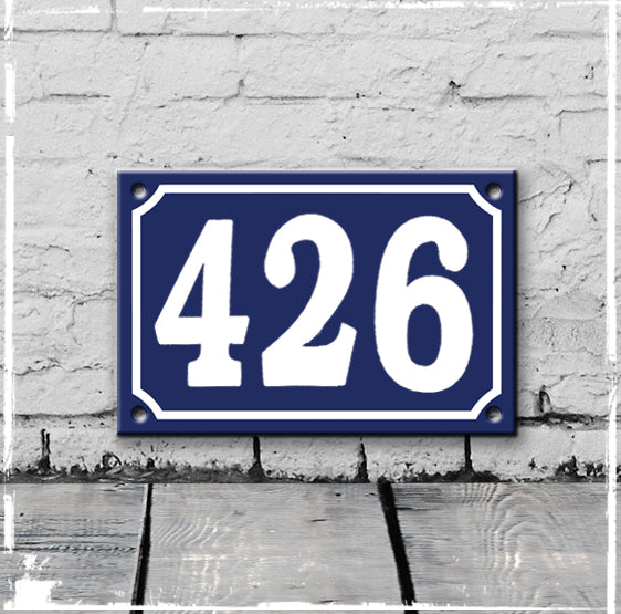 Blue - french enamel house number - 426, Hand drawn typeface