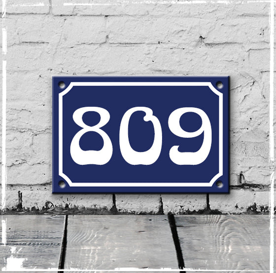 Blue - french enamel house number - 809, Art Nouveau typeface