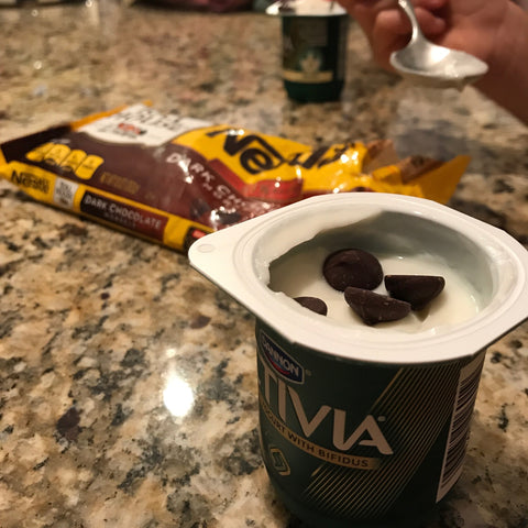 activia yogurt with nestle tollhouse chocolate chips