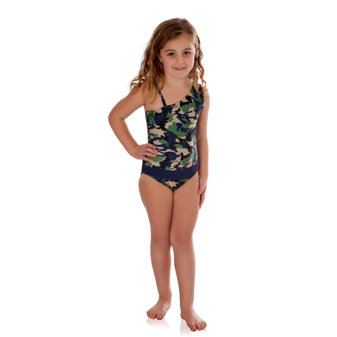 Indigo Camo with Indigo One-Shoulder Bathing Suit
