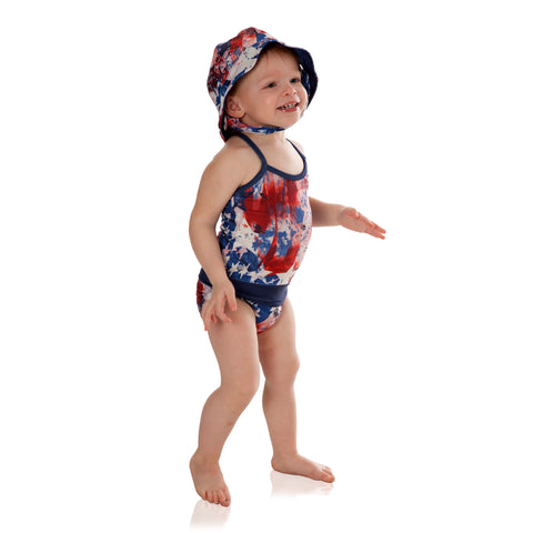 Stop struggling with wet swimsuits! Magnetic closures make for easy change swimwear for infants, toddlers, and girls. UPF 50+ sun protection. Parents are raving about these cute red, white and blue patriotic swimsuits.