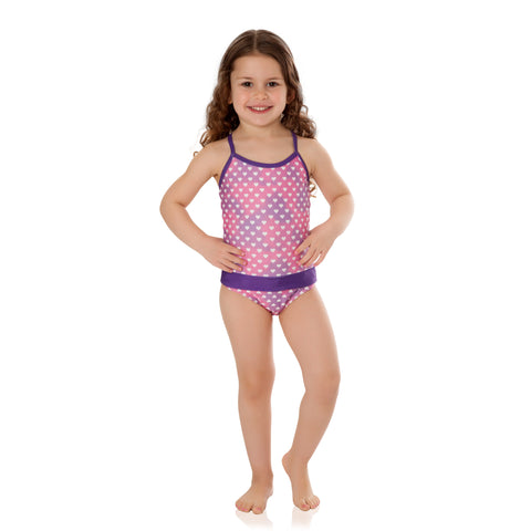 Ombre Hearts with Purple Bathing Suit