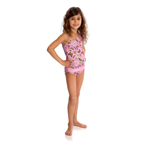 Butterflies with Rose One-Shoulder Bathing Suit