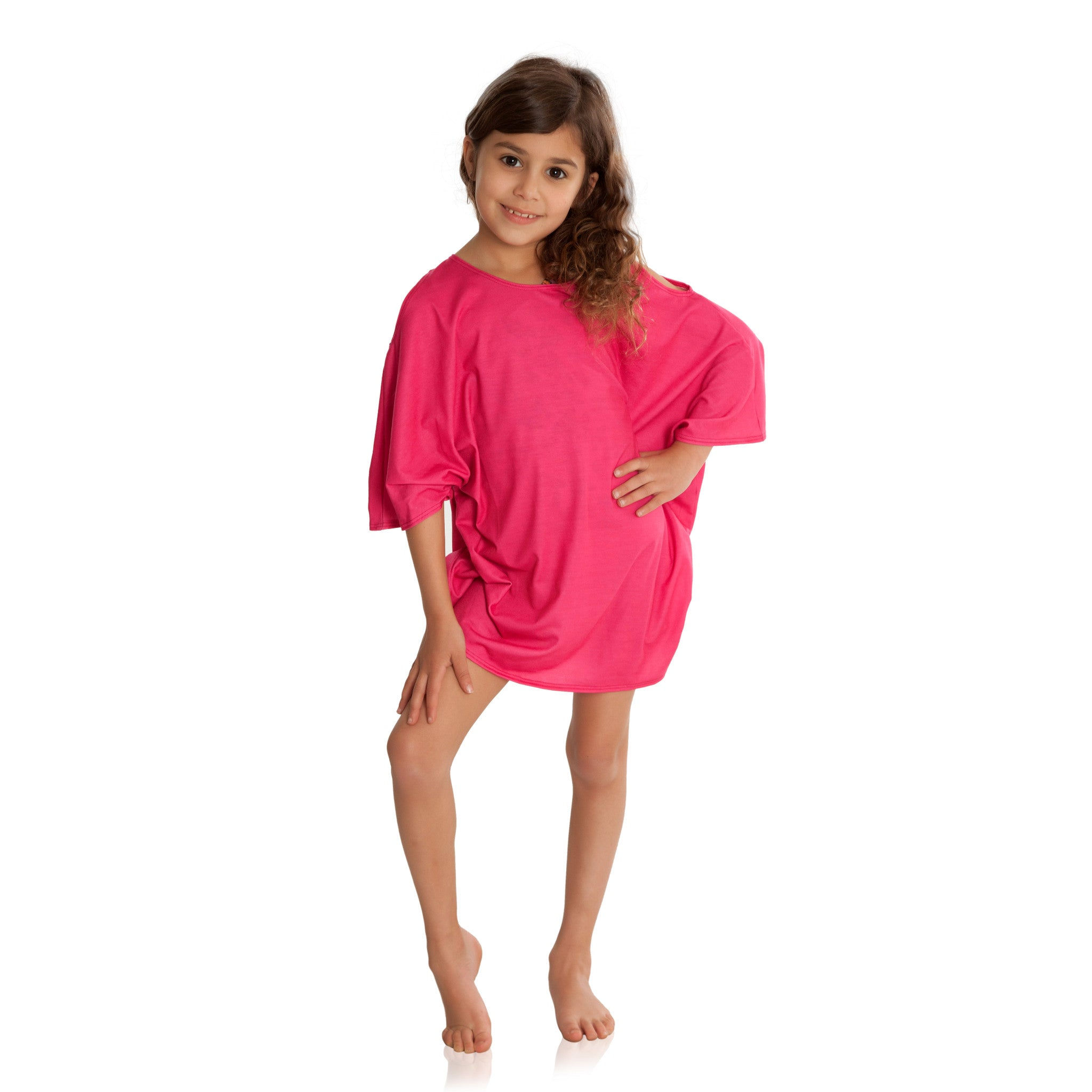 Fuchsia Cold Shoulder Cover-up
