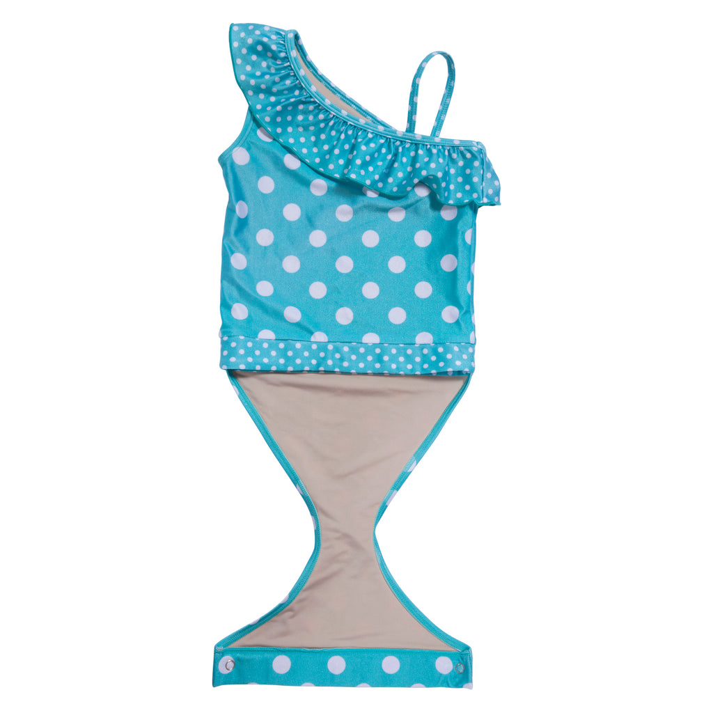 f46f92fd93340 ... Aqua Polka Dot girl swimsuit with ruffle by FASTEN. Features patented  design that opens at ...