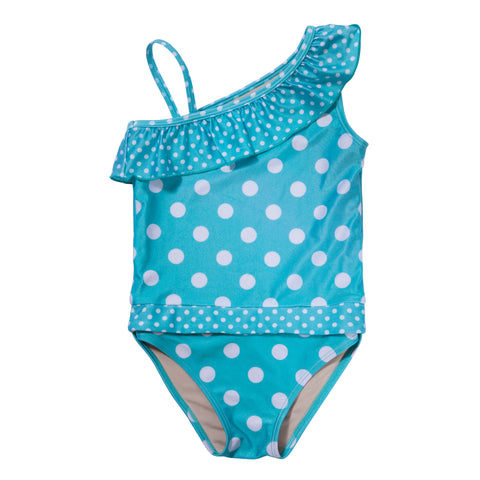 Aqua Polka Dot girl swimsuit with ruffle by FASTEN. Features patented design that opens at the waist, making diaper changes and bathroom breaks faster and easier. Sizes 2T-10. UPF 50 sun protection built in. Polka dot swimsuit for girls.