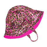 FASTEN reversible toddler sun hat, UPF 50+, cute cheetah print with fuchsia, chin strap with magnet to keep hat on your toddler's head.