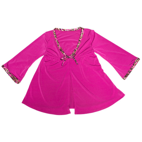 FASTEN toddler cover up. Fuchsia with cheetah cover-up keeps your little girl protected from the sun on beach and pool days.