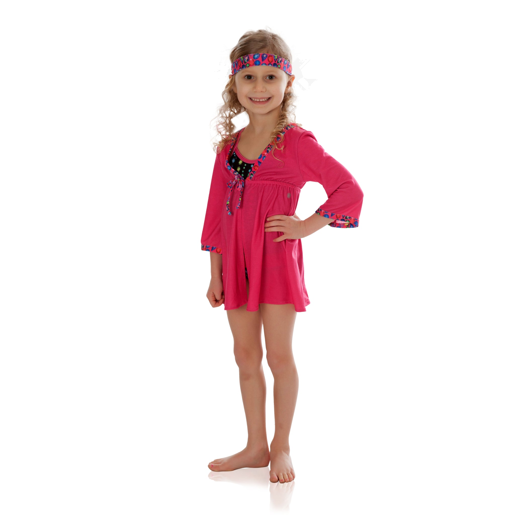 FASTEN toddler cover up with UPF 50+ sun protection. Beautiful fuchsia color with jewels trim. Great sun protection for your toddler girl.