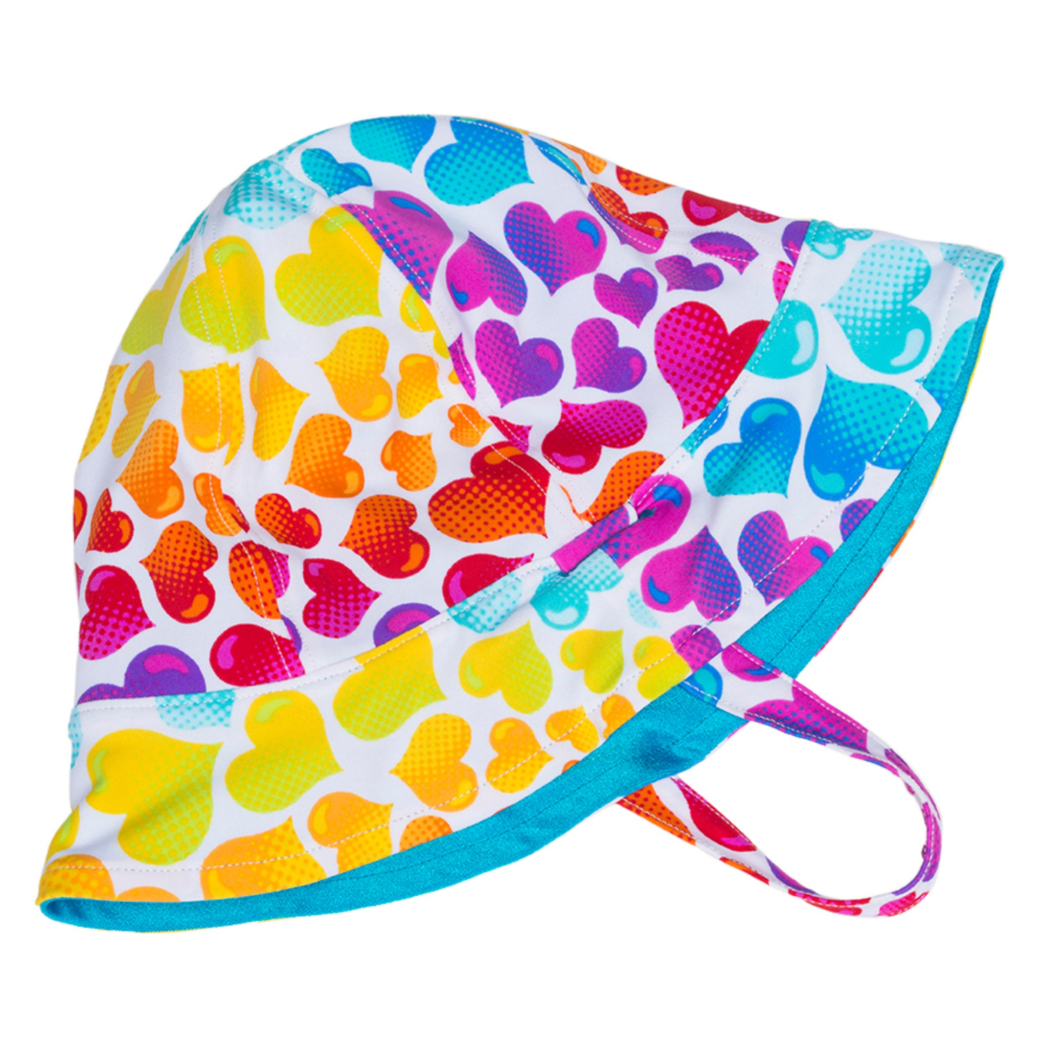 FASTEN reversible toddler hat with adorable rainbow hearts print on one side, turquoise on the other side. UPF 50+ sun hat providing excellent sun protection. Great for the beach or pool or when your toddler is outside. Chin strap to keep hat on your toddler's head!
