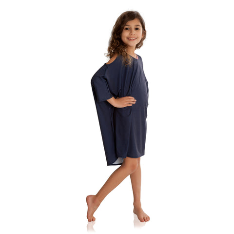 FASTEN girls cover up with UPF 50+ sun protection. Indigo cold shoulder cover up is fun and trendy, sizes 6-10. Throw on over swimsuit and head for the beach or pool!