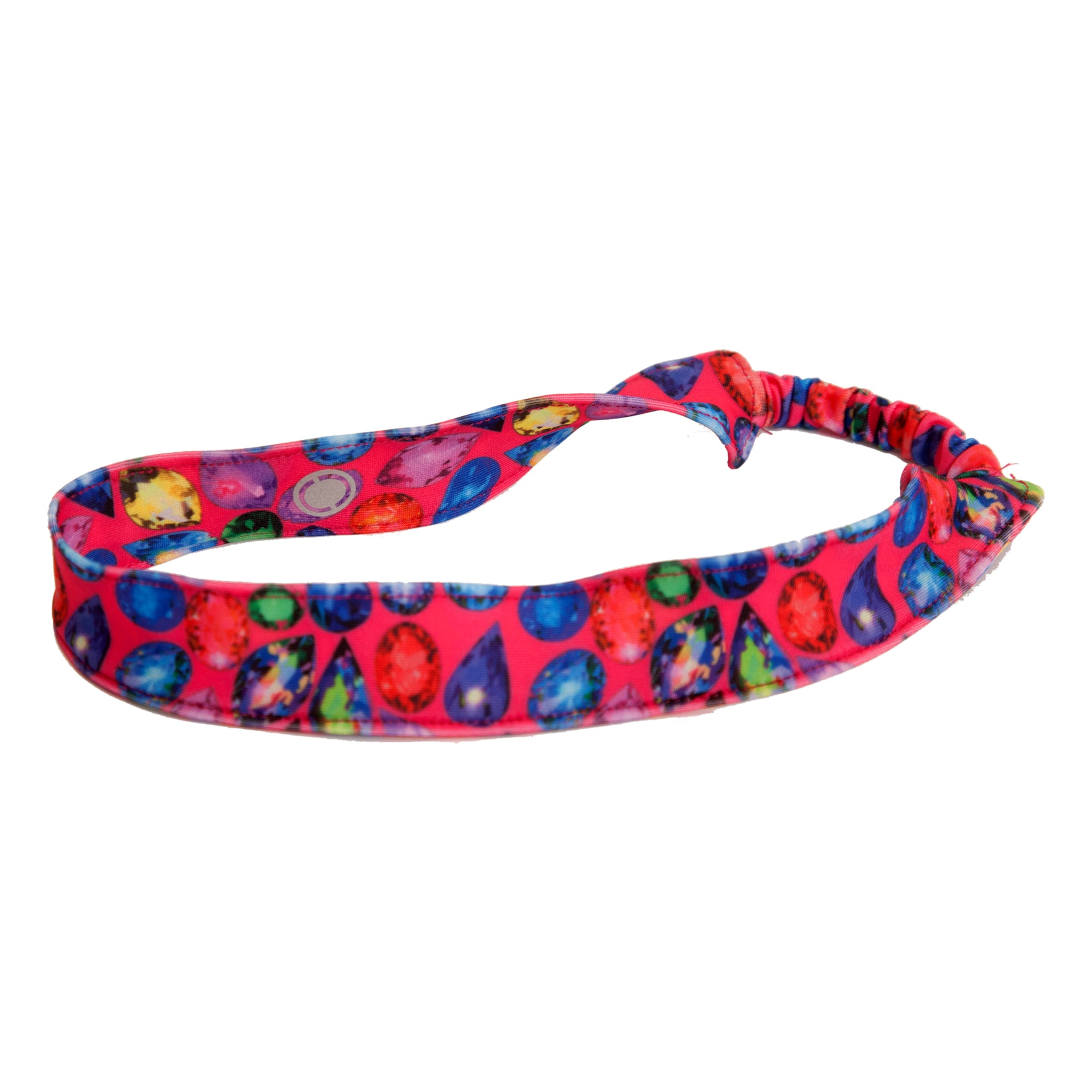 We love this baby girl headband with a pretty jewels pattern. One-size headband also fits toddler girls and older girls. Great for a trip to the beach, pool, or year-round!