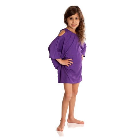 FASTEN girls cover up with UPF 50+ sun protection. Purple cold shoulder cover up is adorable and trendy for young girls sizes 6-10.