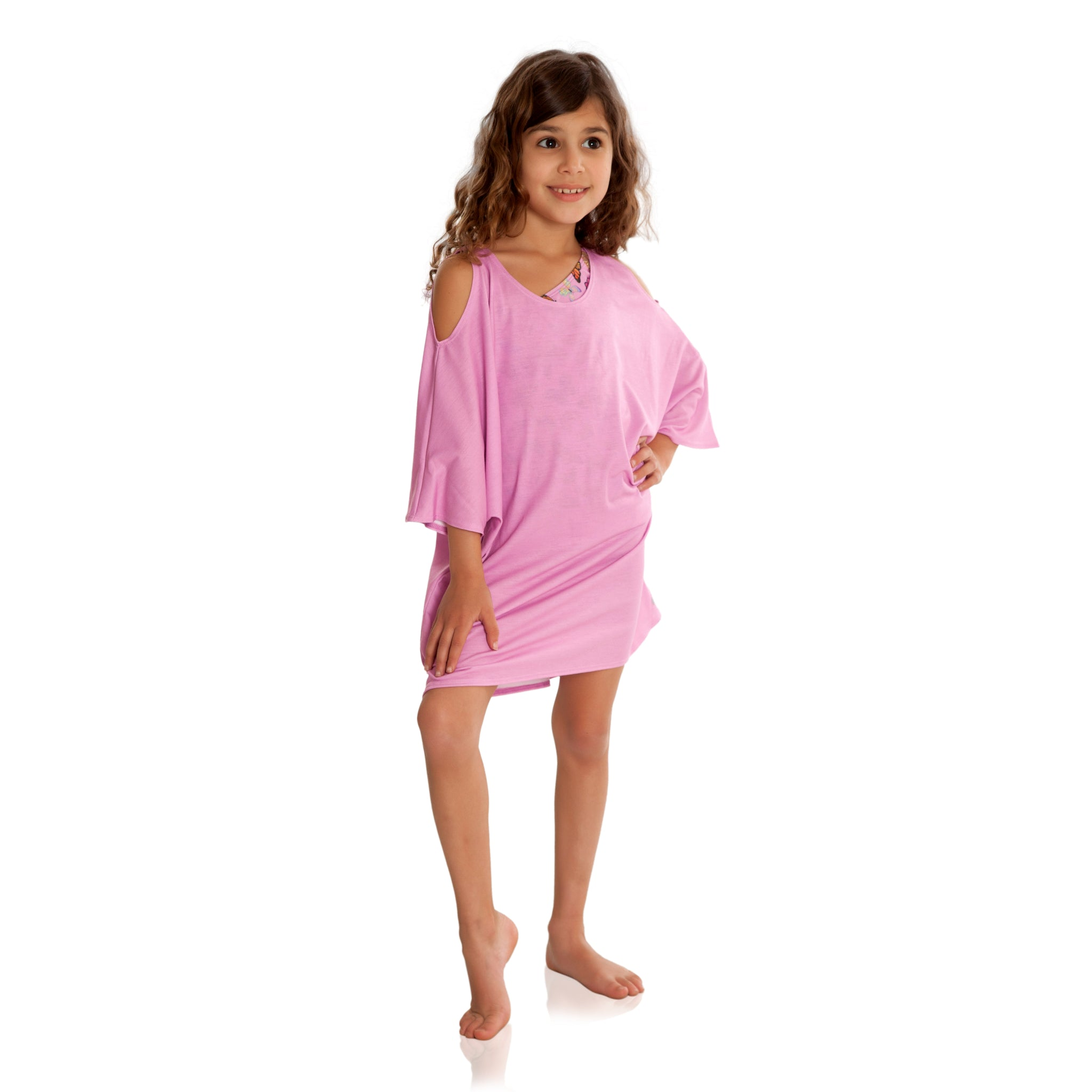 Love the look of this FASTEN rose cold shoulder cover up for young girls size 6-10. UPF 50 sun protection! Beautiful light pink cover up is great to throw on over girls swimsuits. Girls beachwear.