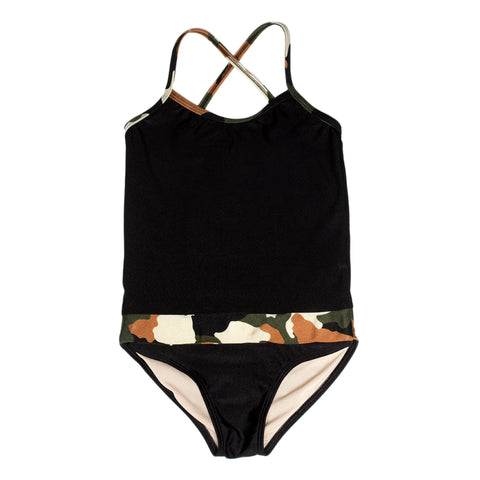 Black with Camo Bathing Suit