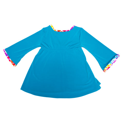 Turquoise cover up for toddlers by FASTEN Swim. Adorable rainbow hearts trim. Magnetic closure keeps toddler cover up closed.