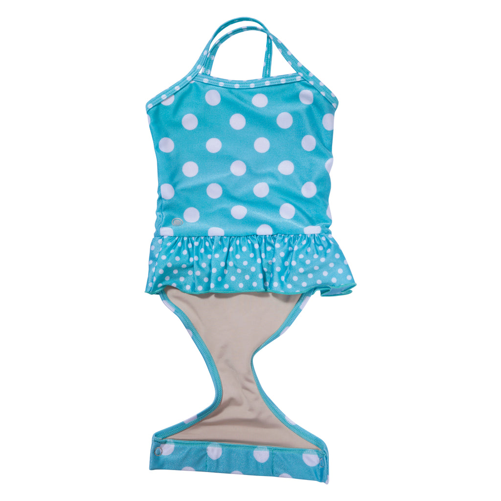 5e84c3cc7 Features patented design that opens; Aqua Polka Dot toddler girl swimsuit  with ruffle by FASTEN. Features patented design that opens