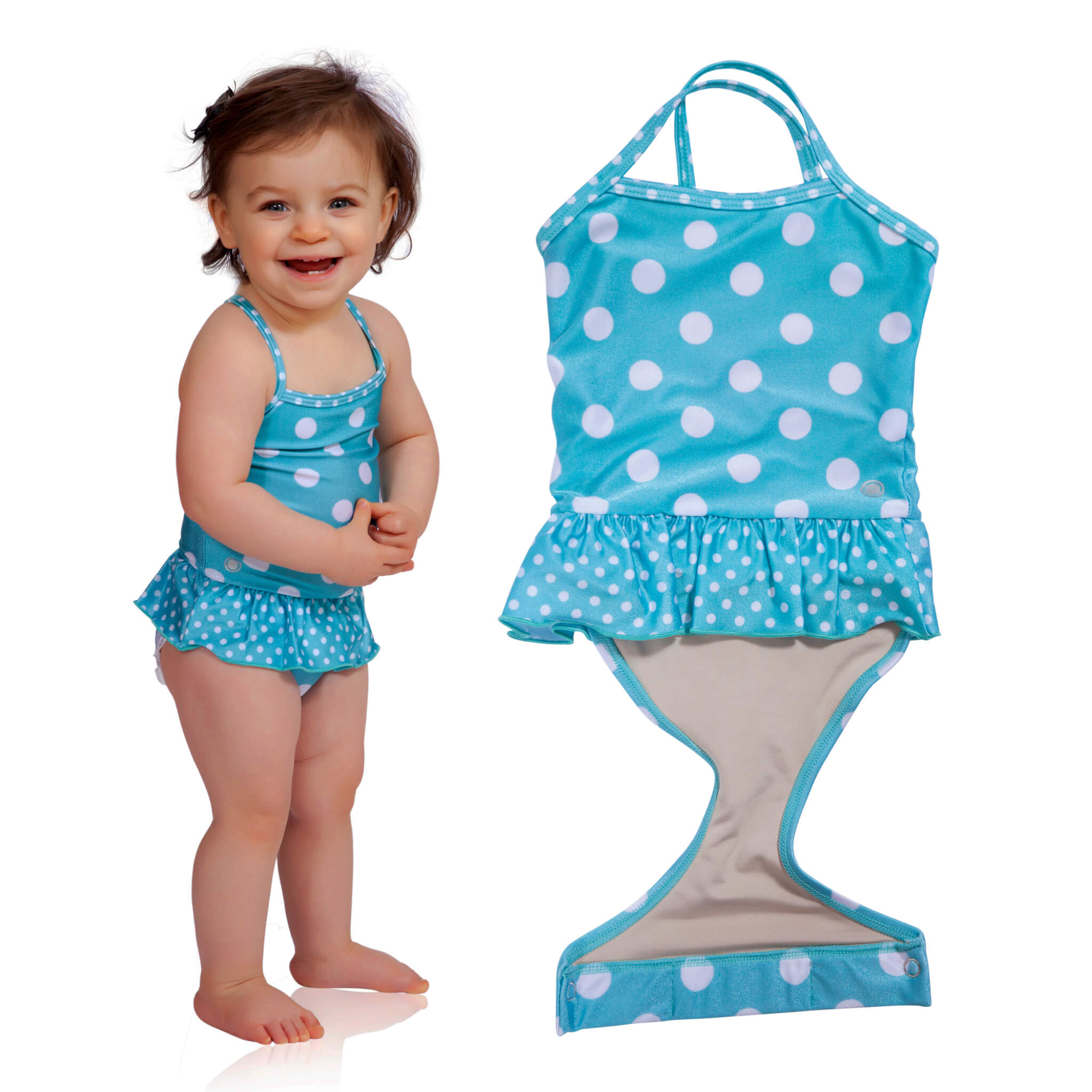 Aqua Polka Dot toddler girl swimsuit with ruffle by FASTEN. Features patented design that opens at the waist, making diaper changes and bathroom breaks faster and easier. Sizes 6m-18m. UPF 50+ sun protection built in. Polka dot swimsuit for girls.