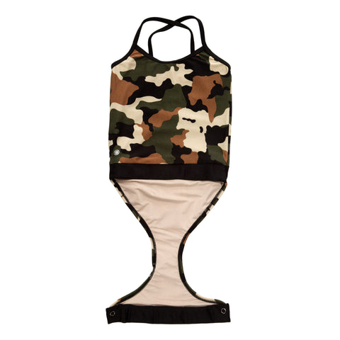 Camo swimsuit for girls by FASTEN. Stop struggling with wet swimsuits! Magnetic closures make for easy change swimwear. Features patented design that opens at the waist via hidden magnets and snaps. Only 1 left in size 5T! Cross-back swimsuit design.