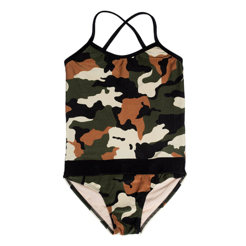 Camo girls swimsuit by FASTEN. Features patented design that opens at the waist, making diaper changes and bathroom breaks faster and easier. Only 1 left in size 5T! Cross-back swimsuit for toddlers and young girls.