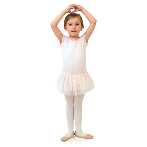 FASTEN cap sleeve leotard with tutu. Patented design opens and closes at the waist via hidden magnets and snaps. No need to remove leotard for potty break! Available in black and light pink. Sizes 2T-6.