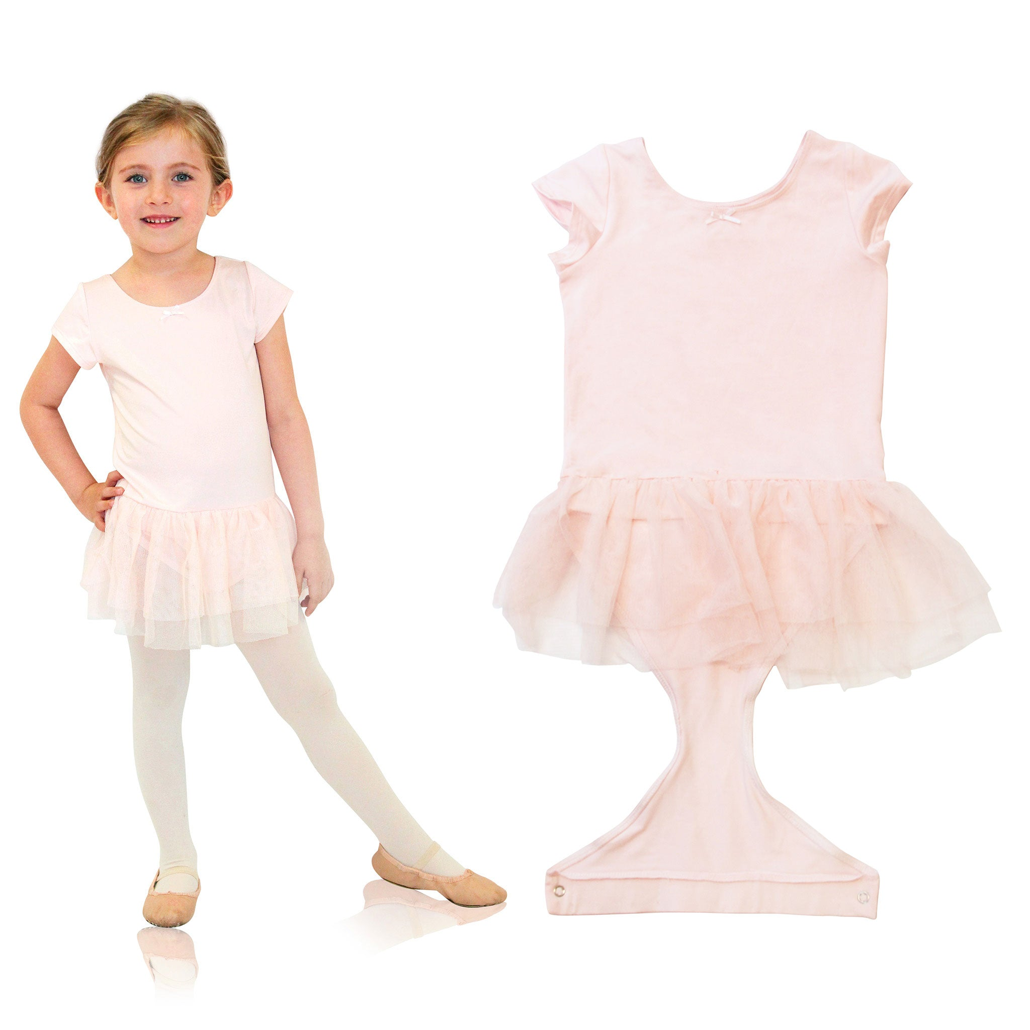 FASTEN cap sleeve leotard with tutu. Patented design opens and closes at the waist via hidden magnets and snaps. No need to remove leotard for potty break! Available in black and light pink. Sizes 2T-6. Pink leotard. Black leotard.