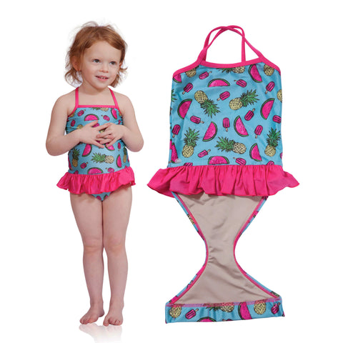 FASTEN swimsuit, Fruitsicle cross-back swimsuit for baby and toddler girls. Features patented design that opens at the waist, making bathroom breaks and baby diaper changes faster and easier. Sizes 6m-5. UPF 50 sun protection built right in! Cross-back swimsuit design. Cute fruit pattern with ruffle.