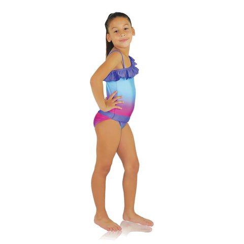 Fuchsia Turquoise Ombre one-shoulder swimsuit for girls by FASTEN. Features patented design that opens at the waist, making bathroom breaks and baby diaper changes faster and easier. Sizes 2T-10. UPF 50  sun protection built right in! One-shoulder design. Ombre varies slightly in each swimsuit.