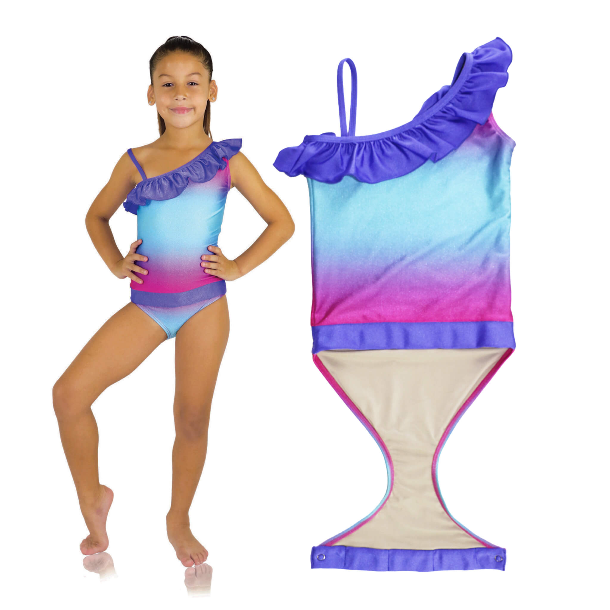 f19747d7b2 Features patented design that · Fuchsia Turquoise Ombre one-shoulder  swimsuit for girls by FASTEN. Features patented design that ...